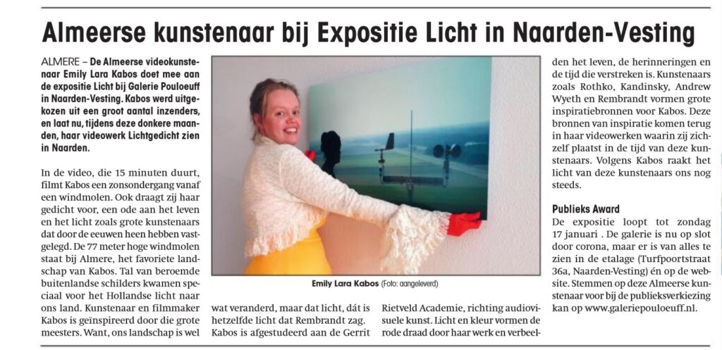 Almeerse kunstenaar bij Expositie Licht in Naarden-Vesting (artikel in Almere Deze Week van 6 januari 2021)